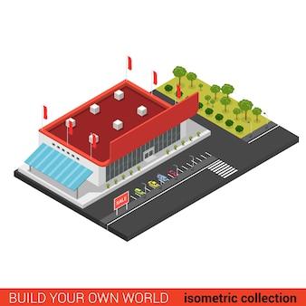 Flat d isometric supermarket mall sale building block infographic concept