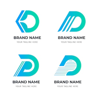 Flat d logo template collection