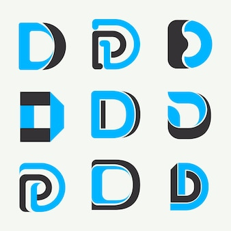 Flat d logo templates collection