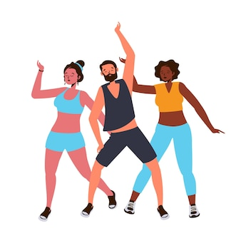 Flat dance fitness class illustrated