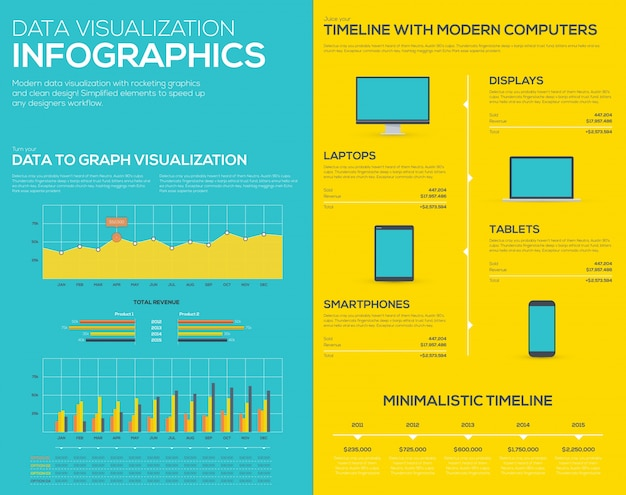 Flat data visualization infographic business vector elements