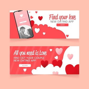 Flat dating app banner design template