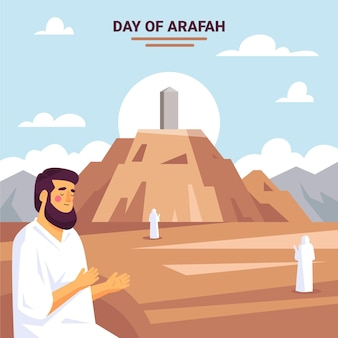 Flat day of arafah illustration