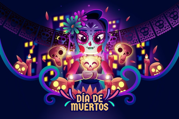 Flat day of the dead background