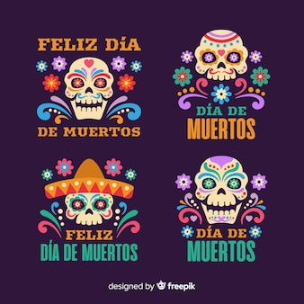 Flat day of the dead badge collection