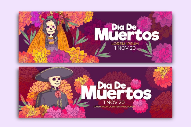Flat day of the dead banners