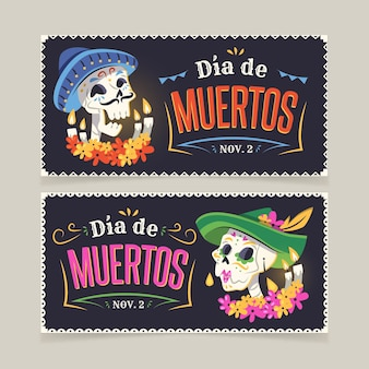 Flat day of the dead horizontal banners