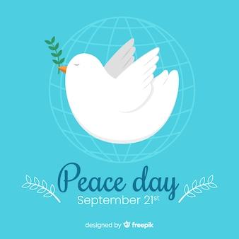 Flat day of peace with dove