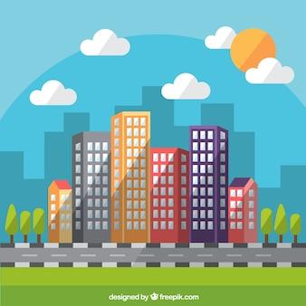 Flat daytime modern city background