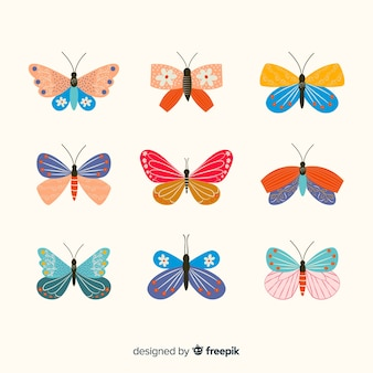 Flat decorated butterflies pack