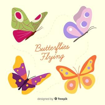 평면 장식 된 나비 모음