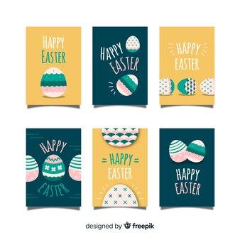 Piatto decorato collezione di carte di uova di pasqua