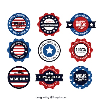 Flat decorative stickers for martin luther king day