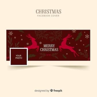 플랫 deers 크리스마스 페이스 북 커버