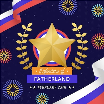 Flat defenders of fatherland day event symbol