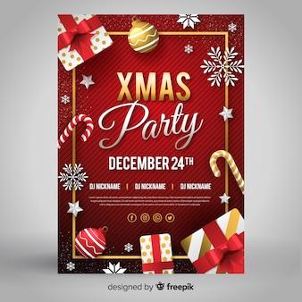 Flat deign рождественская вечеринка флаер шаблон