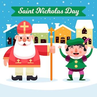 フラットデザイン聖ニコラスの日