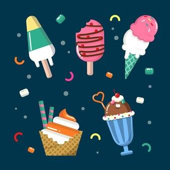 편평한 맛있는 아이스크림 컬렉션