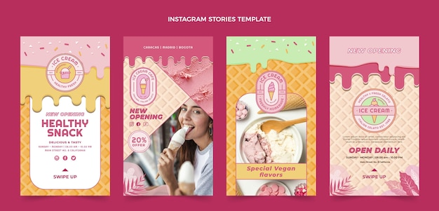 Flat delicious ice cream instagram stories