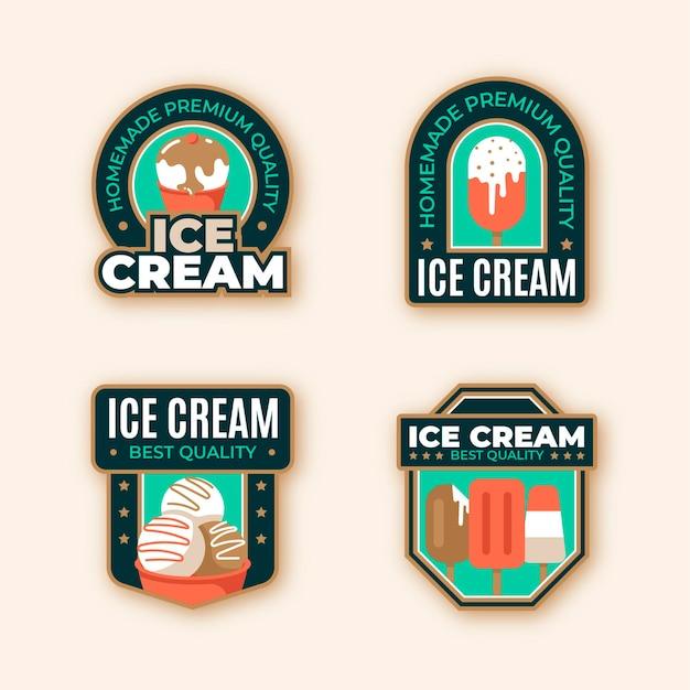 Collezione di etichette di gelato piatto delizioso