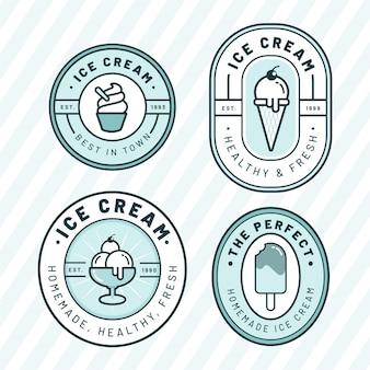 Flat delicious ice cream label set