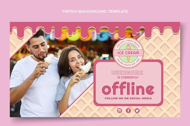 Flat delicious ice cream twitch background