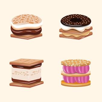 Плоский вкусный s'more набор иллюстрации
