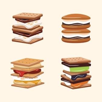 Piatto delizioso s'più set illustrazione