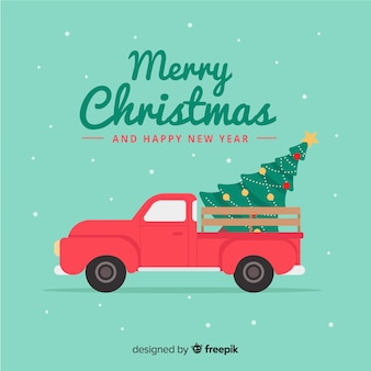 Flat deliver truck christmas background