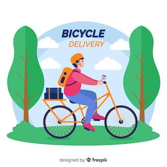 Flat delivery boy on bike background