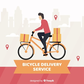 Flat delivery boy on bike background