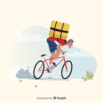 자전거 배경에 플랫 배달 소년
