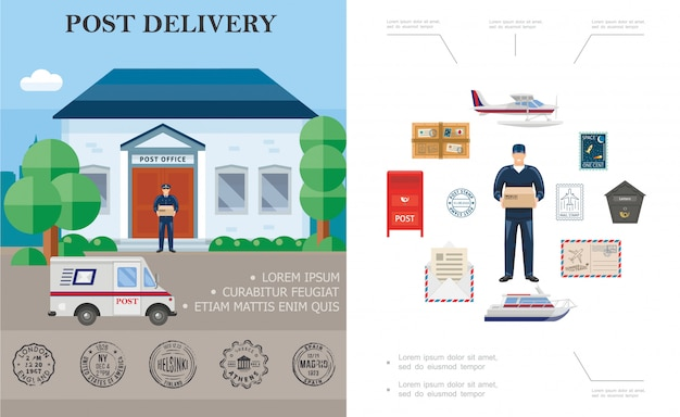 Flat delivery colorful composition with postman float plane yacht post office couriers truck postbox parcel and mail stamps