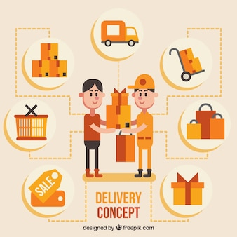 Flat delivery concept with fun style