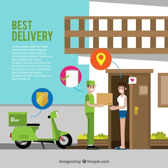 Flat delivery concept with smiley people