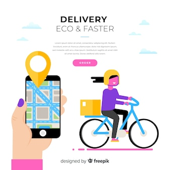 Flat delivery girl on bike background