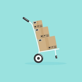 Flat delivery hand truck with three boxes