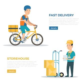 Плоская доставка логистики и транспортная компания веб-инфографика векторные баннеры
