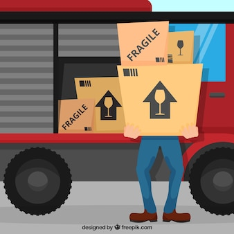 Flat delivery man carrying carton boxes