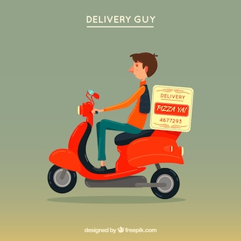 Flat delivery man on vintage scooter