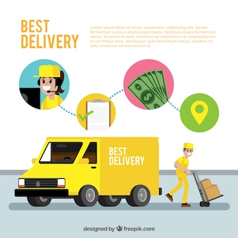 Flat delivery man with truck and carton boxes