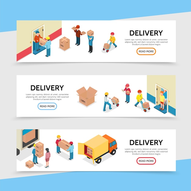Flat delivery service horizontal banners