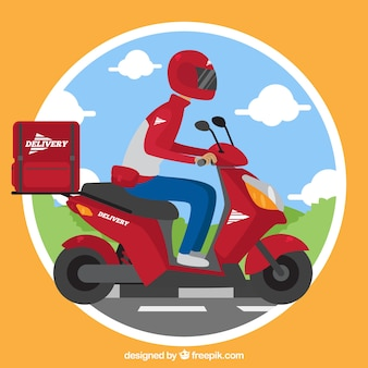 Flat deliveryman with helmet and scooter
