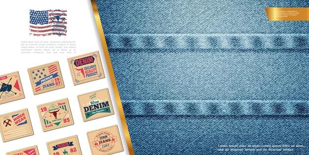 クラシックなジーンズのエンブレムとデニムのエレガントなテクスチャイラストを使用したフラットデニムのカラフルな構成