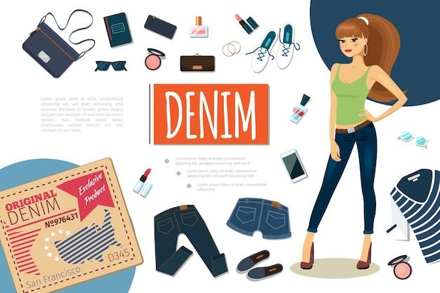 Плоская джинсовая красочная композиция