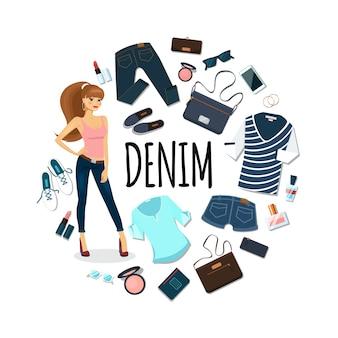 Плоская джинсовая круглая концепция
