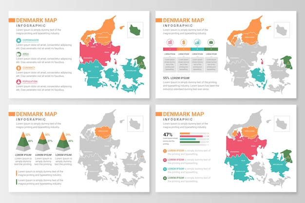 Плоская карта дании инфографики