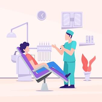 示されている平らな歯科治療の概念