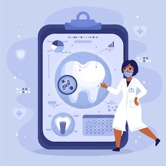 Flat dental care concept illustration
