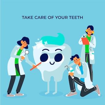 치과 의사와 평면 치과 치료 개념
